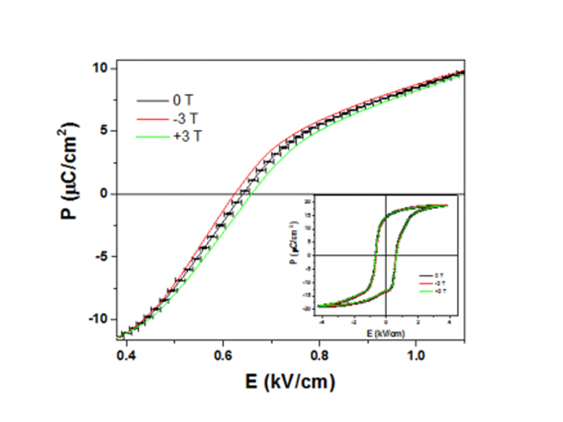 Fe-dped BTO ferroelectric response with applied magnetic field